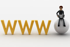 3d man working on laptop while sitting on sphere with www text concept Stock Photo