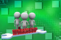 3d man workshop illustration Royalty Free Stock Photography