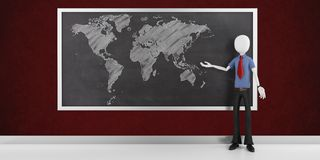 3d man with the world map on the blackboard Stock Photo
