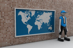 3d man with the world map Royalty Free Stock Images
