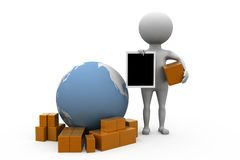 3d man worldwide delivery concept Stock Photography