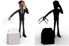 3d man worried about broken medical kit bag handle concept collections with alpha and shadow channel Stock Images