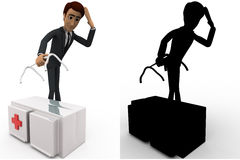 3d man worried about broken medical kit bag handle concept collections with alpha and shadow channel Stock Photo