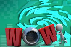 3d man wow illustration Stock Image