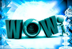 3d man with wow text illustration Royalty Free Stock Image