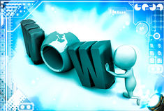 3d man with wow text illustration Stock Images