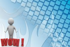 3d Man With Wow Text Illustration Royalty Free Stock Images