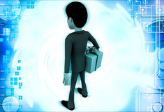 3d man with wrapped gift box illustration Royalty Free Stock Photography