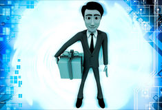 3d man with wrapped gift box illustration Stock Images