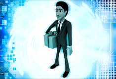 3d man with wrapped gift box illustration Stock Photography