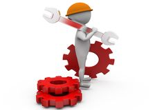 3d man with wrench and gear concept Stock Images