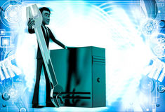 3d man with wrench and server cpu to represent repair illustration Stock Image