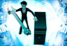 3d man with wrench and server cpu to represent repair illustration Royalty Free Stock Image
