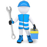 3d man with wrench and tool box Royalty Free Stock Photography
