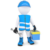 3d man with wrench and tool box. 3d man in overalls with a wrench and tool box. Isolated render on a white background Stock Photos