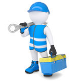 3d man with wrench and tool box. 3d man in overalls with a wrench and tool box. Isolated render on a white background Royalty Free Stock Photo