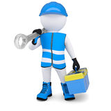 3d man with wrench and tool box Stock Photo