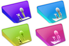 3d Man write time  concept icon Stock Photos