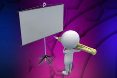 3d man writing with pen on white board illustration Royalty Free Stock Photos