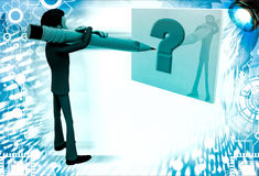 3d man writing question mark on paper with pencil illustration Royalty Free Stock Photos