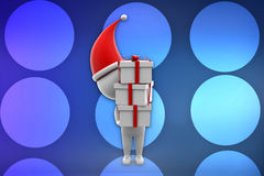 3d man with x mas gift illustration Stock Image