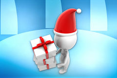 3d man with x mas gift illustration Stock Photos