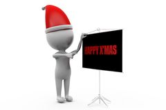 3d man xmas board concept Royalty Free Stock Photos