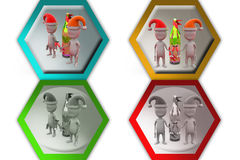 3d man xmas part icon Stock Images