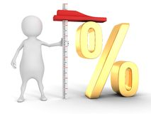 3d man with yardstick golden percent sign Stock Photography