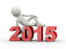 3d man on year 2015. 3d illustration of man stylish sitting on new year 2015. 3d human person character and white people Stock Images