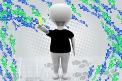 3d man with yellow card illustration Stock Images