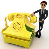 3d man with yellow telephone concept Royalty Free Stock Photo
