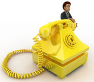 3d man with yellow telephone concept Stock Photography
