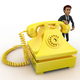 3d man with yellow telephone concept Royalty Free Stock Image