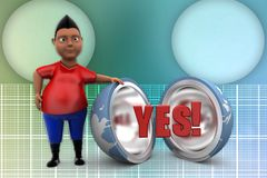 3d man yes globe illustration Stock Images