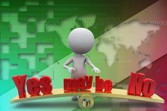 3d man yes may be no illustration Stock Images
