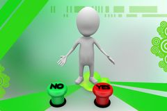 3d man yes no button illustration Royalty Free Stock Photo