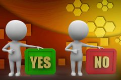 3d man yes or no concept illustration Royalty Free Stock Photography
