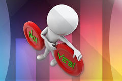 3d man yes or no illustration Stock Photography