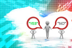 3d Man With Yes Or No People Illustration Stock Photography