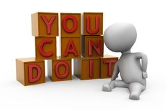 3d man you can do it concept Royalty Free Stock Photography