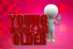 3D man young middle age older illustration Stock Image