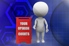 3d man your opinion counts illustration Stock Image