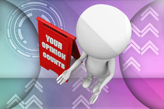 3d man your opinion counts illustration Royalty Free Stock Photography