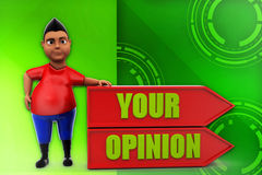3d man your opinion illustration Royalty Free Stock Photo