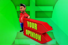 3d man your opinion illustration Stock Photography