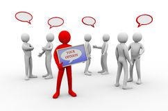 3d man your opinion - people discussion Stock Photography