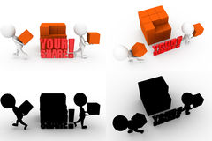 3d man your share concept collections with alpha and shadow channel Royalty Free Stock Image