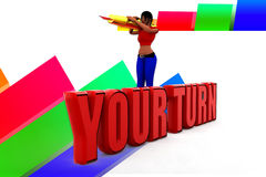 3d man your turn illustration Royalty Free Stock Photography
