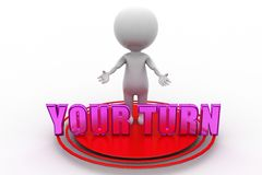3d man your turn illustration Royalty Free Stock Image